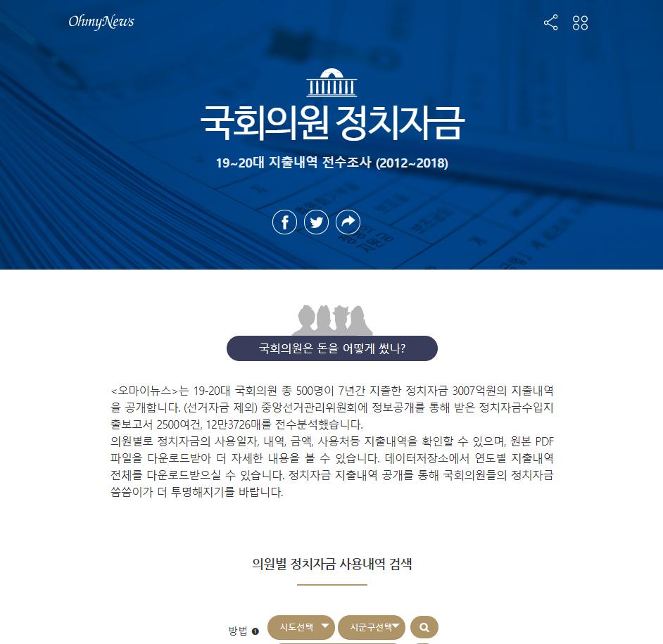 국회의원 정치자금 19~20대 지출내역 전수조사